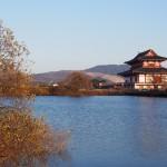 冬の佐紀池(若草山・大極殿方面を遠望)