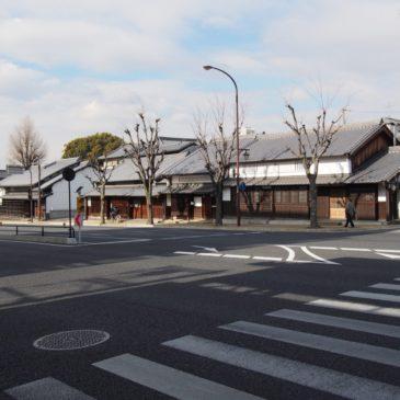【大宮通り沿い(油阪)の町並み】かつて「路面電車」が走った道沿いには現在も重厚な町家が点在する