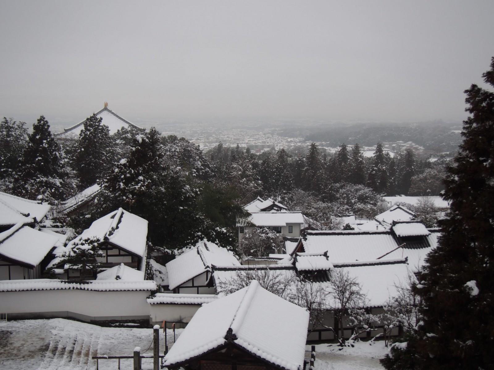 二月堂から雪景色の東大寺境内・奈良市街地を望む