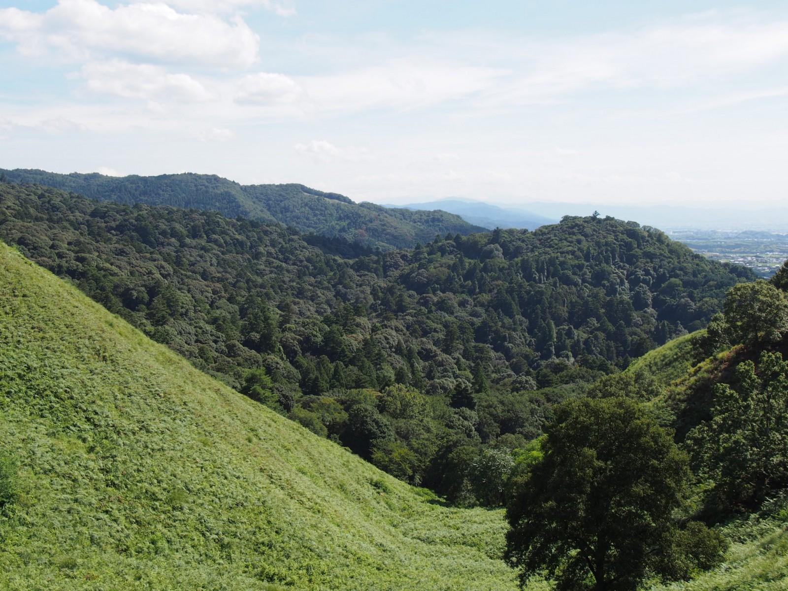 若草山から御蓋山・高円山を望む風景