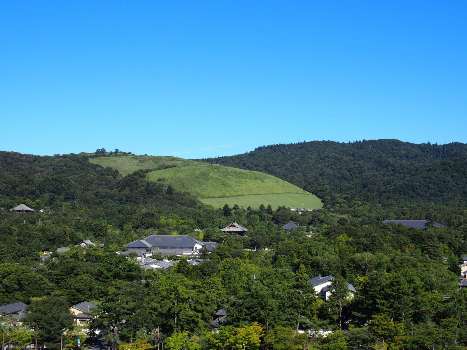 春日山と若草山と東大寺境内(奈良県庁屋上から)