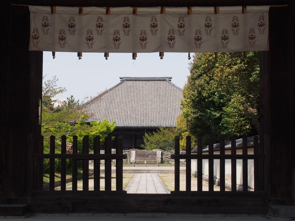 西大寺南門から本堂を望む
