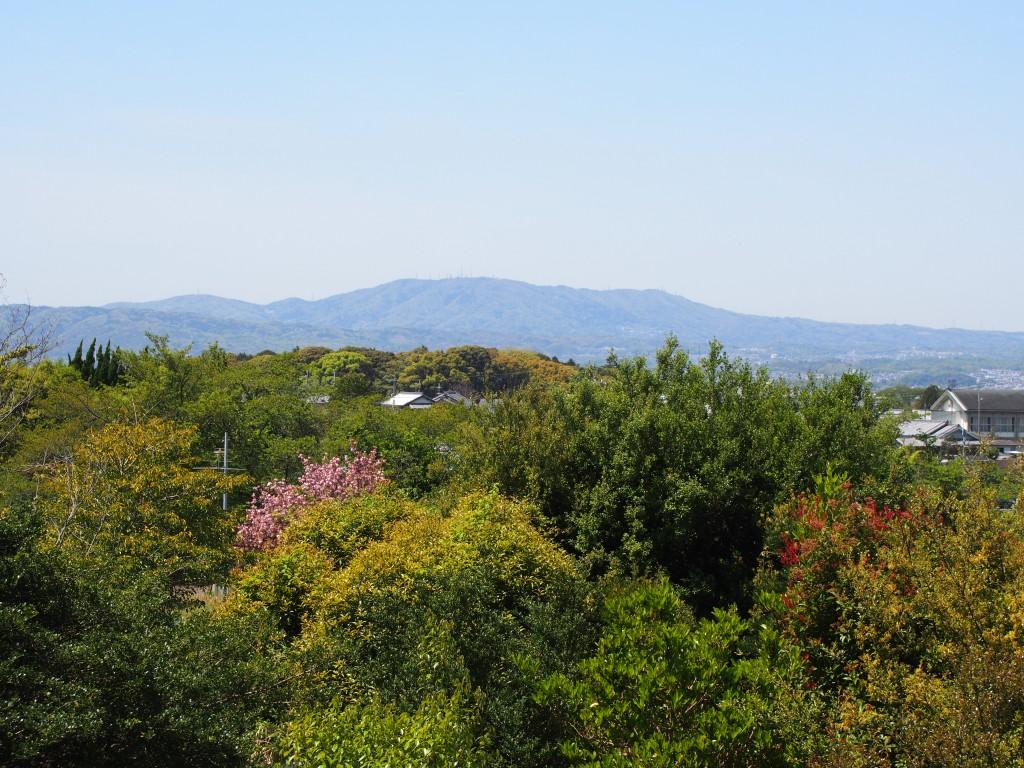 鹿野園町から生駒山方面を望む