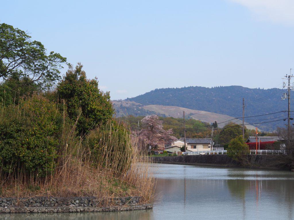 コナベ古墳(小奈辺陵墓参考地)と若草山方面を望む