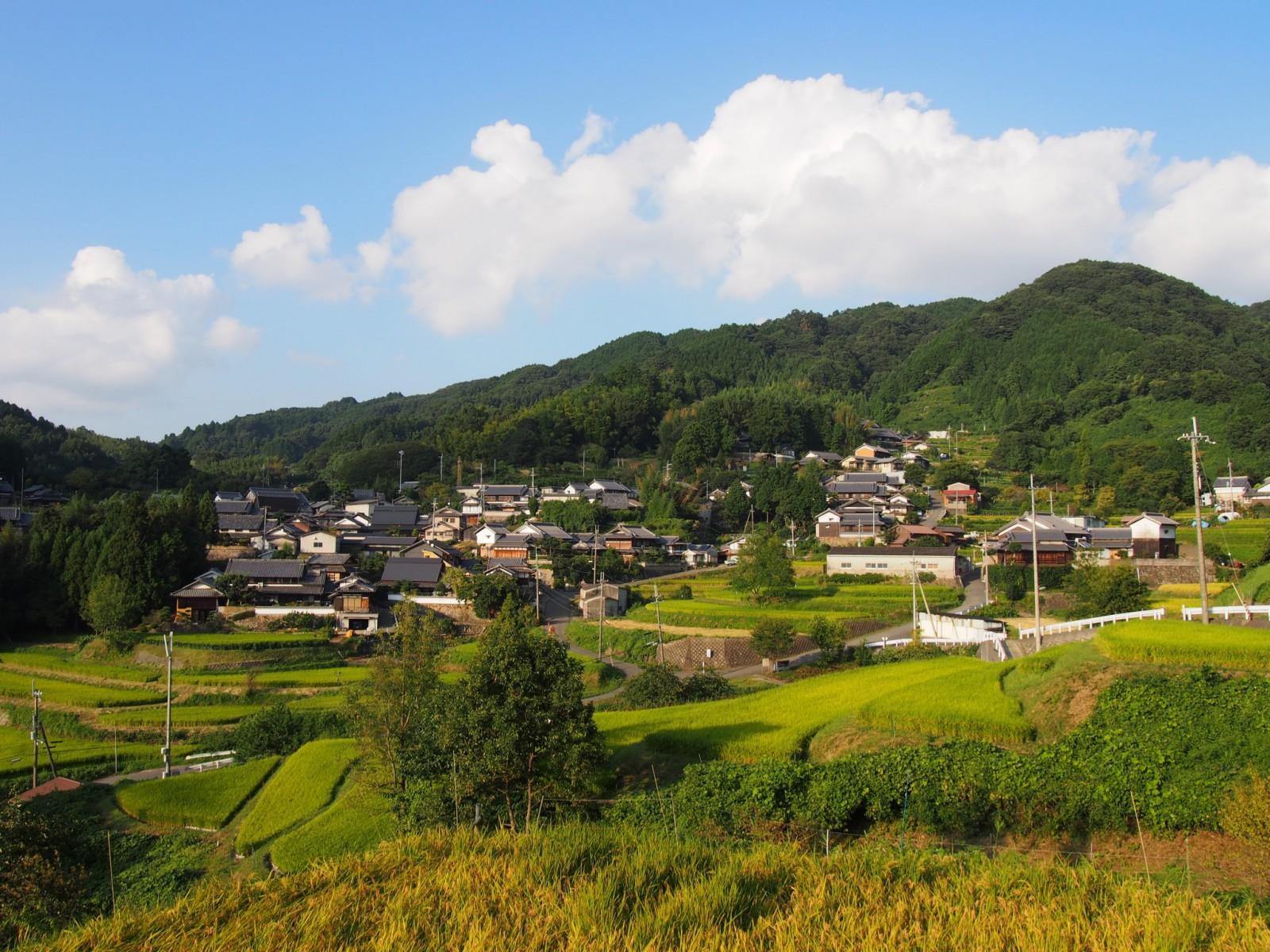 中畑町の集落と棚田を望む