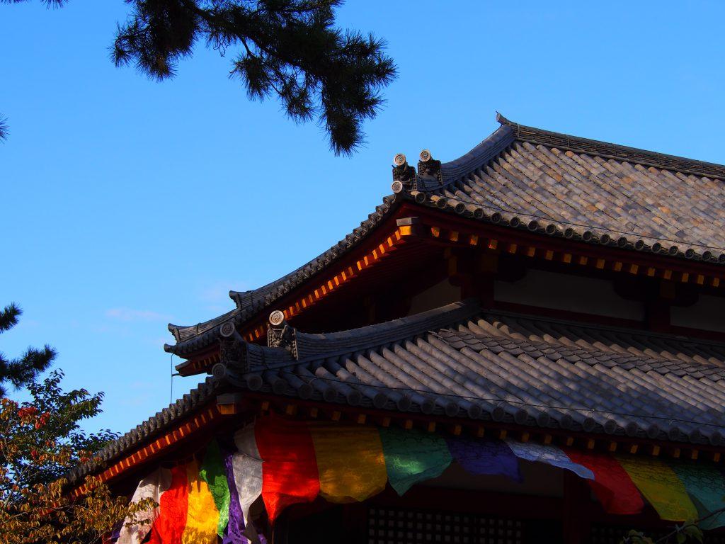 五色幕を付けた西大寺四王堂