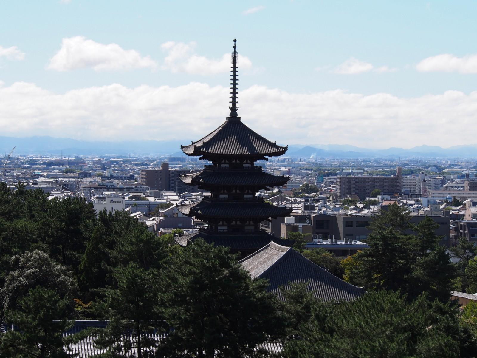 奈良県庁から五重塔を望む
