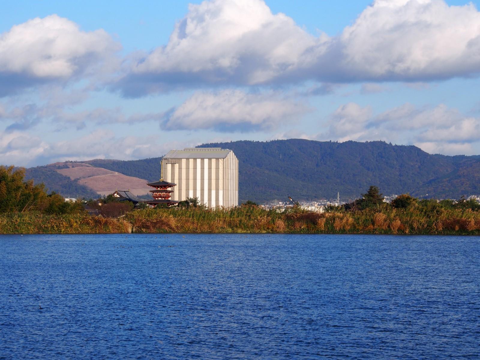 大池から薬師寺東塔・西塔と若草山を望む