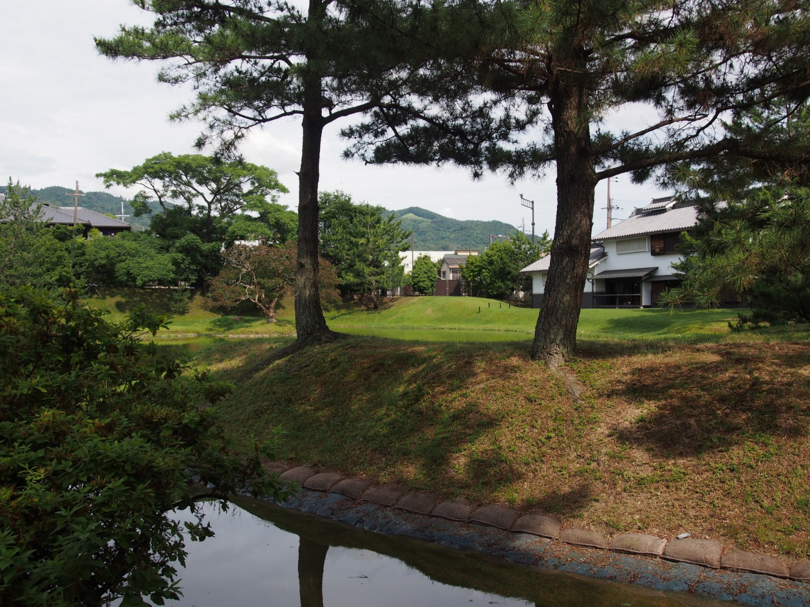 旧大乗院庭園から高円山と文化館の建物を望む