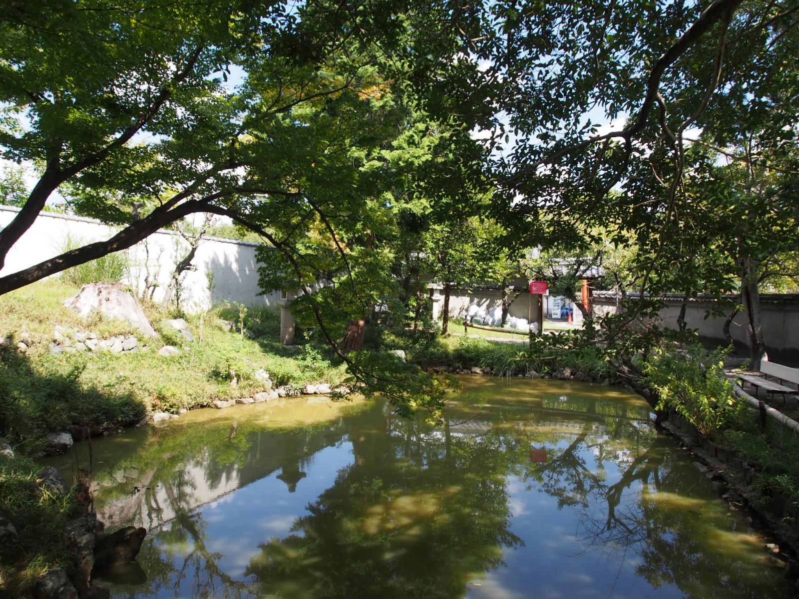 奈良町天神社境内にある池
