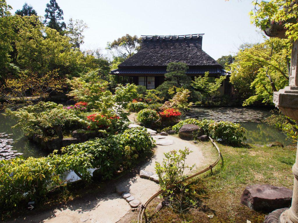 依水園「前園」の風景(三秀亭を望む)