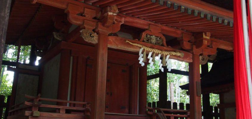 【霊山寺鎮守社殿(十六所神社)】森の中に5つの社殿が並ぶ神秘的空間
