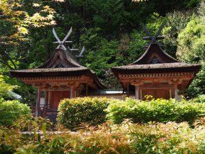 【円成寺鎮守社春日堂・白山堂】国宝に指定されている日本最古の「春日造」社殿