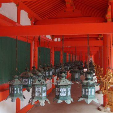 【春日大社回廊】本殿一帯を取り囲む建物には美しい燈籠がずらりと並ぶ