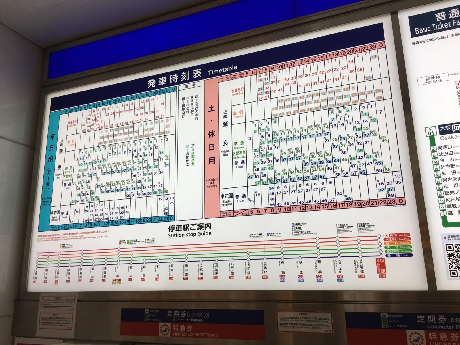 近鉄 電車 ダイヤ